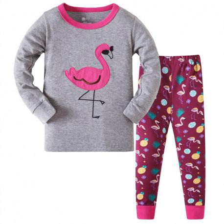 Пижама для девочки, серая. Фламинго в очках.