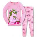 Пижама для девочки, розовая. Единорог в блестящей короне.