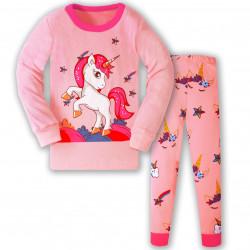 Пижама для девочки, розовая. Единорог и звездопад.