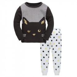 Пижама для девочки, черная. Хитрый котенок.