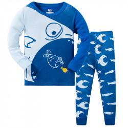 Пижама для мальчика, синяя. Рыбьи гонки.