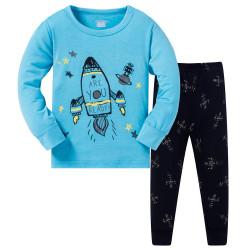 Пижама для мальчика, голубая. Стартующая ракета.
