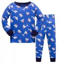 Пижама для мальчика, синяя. Акулы в новогодних шапочках.
