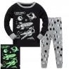 Пижама для мальчика, черная. Ракета, космонавт и планеты.