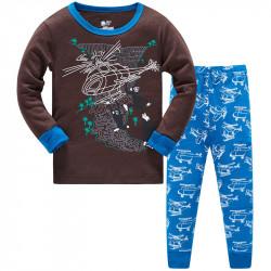 Пижама для мальчика, коричневая. Вертолет и водопад.