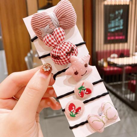 Набор резинок, розовый. Бант и заяц. 6 шт.