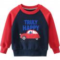 Утепленная кофта для мальчика, свитшот, темно-синяя. Красная машина.