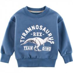 Утепленная кофта для мальчика, свитшот, синяя. Команда тираннозавров.