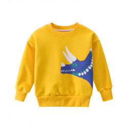 Утепленная кофта для мальчика, свитшот, желтая. Профиль трицератопса.