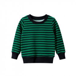 Кофта для мальчика, свитшот, зеленая. Полосочка.