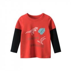 Кофта для мальчика, реглан, красная. Динозавры и лист монстеры.