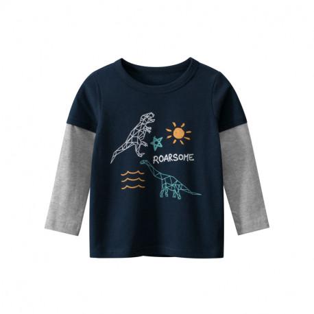 Кофта для мальчика, реглан, синяя. Динозавры и море.