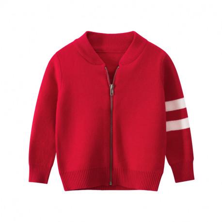 Утепленная кофта для мальчика, бомбер, красный. Классика.