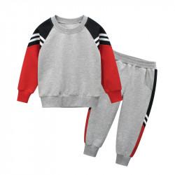 Костюм для мальчика 2 в 1, спортивный, серый. Полосы.