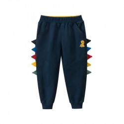Штаны детские спортивные, темно-синий. Желтый дино и шипы.