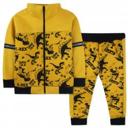 Утепленный костюм 2 в 1 для мальчика, желтый. Древние динозавры.