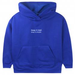 Утепленная кофта детская, худи, синяя. Keep it real.