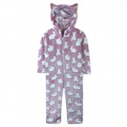 Кенгуру, пижама кигуруми, махровая, розовая. Белые пушистые зайки.