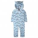 Кенгуру, пижама кигуруми, махровая, голубая. Панды и сердечка.