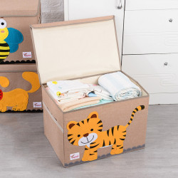 Складной ящик для игрушек с крышкой, бежевый. Тигр.