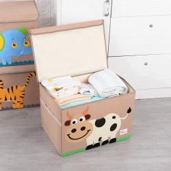 Складной ящик для игрушек с крышкой, бежевый. Коровка.