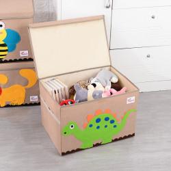 Складной ящик для игрушек с крышкой, бежевый. Стегозавр.