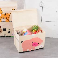 Складной ящик для игрушек с крышкой, белый. Поросенок.