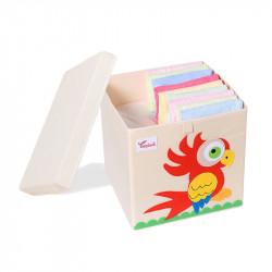 Складной ящик для игрушек со съемной крышкой. Попугай.