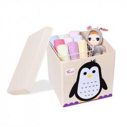 Складной ящик для игрушек со съемной крышкой. Пингвин.
