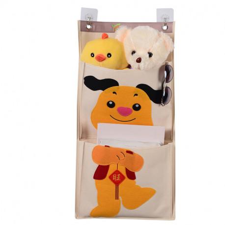 Подвесной органайзер с карманами, молочный. Пёс. (2 кармана)