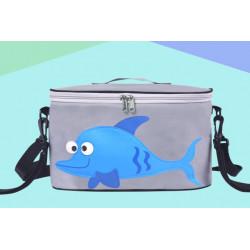 Сумка - багажник для коляски, карман на коляску на молнии. Дельфин.