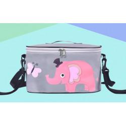 Сумка - багажник для коляски, карман на коляску на молнии. Розовый слон.