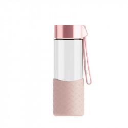 Бутылка стеклянная с силиконовым чехлом, розовая. Hot and cool. 350 мл.