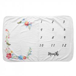 Одеяло ростомер, для новорожденных. 70*102 см. Цветочный венок и бабочки.