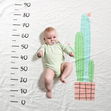 Одеяло ростомер, для новорожденных. 120*150 см. Кактусы. Хлопок 100%.