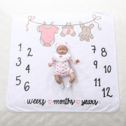 Одеяло ростомер, для новорожденных. 65*95 см. Вещички для малышки. Микрофибра.