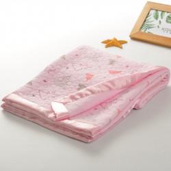 Плед детский, двусторонний, розовый. 75*100 см. Мишки и буквы. Хлопок 100%.