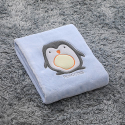 Плед детский, голубой. 75*100 см. Пингвин.