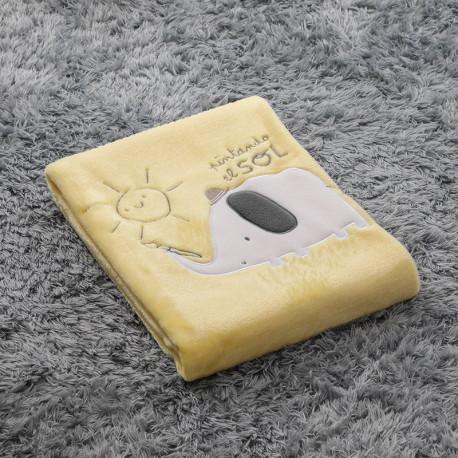 Плед детский, желтый. 75*100 см. Слон - художник.