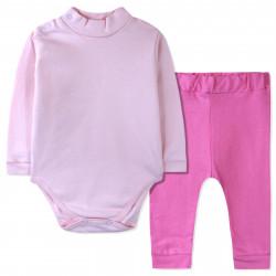 Костюм с начесом 2 в 1 для девочки, розовый. Карапуз.