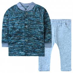 Пижама с начесом детская, домашний костюм, серый. Абстракция.