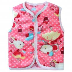 Жилет махровый для девочки, розовый. Мышка в платье.