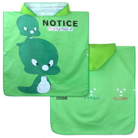 Полотенце-пончо, зеленое. Утенок Твити. 65*135 см. Микрофибра.