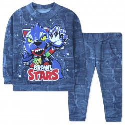 Костюм для мальчика, синий джинс. Brawal Stars.
