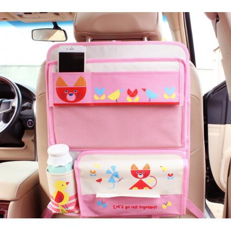 органайзер для автомобиля, детский. Розовый кот.