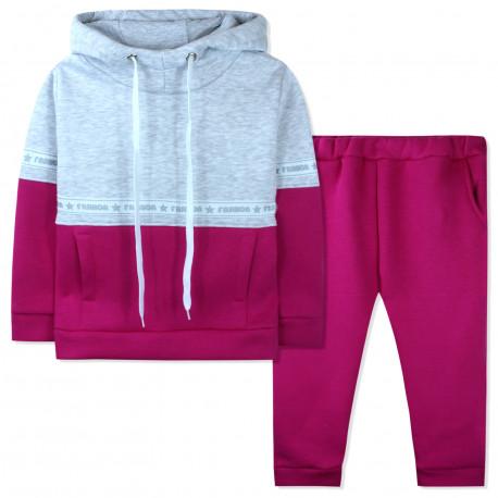 Утепленный костюм 2 в 1 для девочки, серо-малиновый. Fashion.