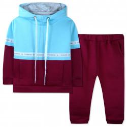 Утепленный костюм 2 в 1 для девочки, мятно-вишневый. Fashion.