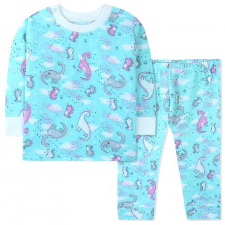 Пижама с начесом для девочки, мятная. Мечтательные динозавры.