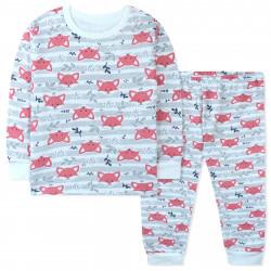 Пижама с начесом детская, серая. Милые лисички.