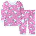 Пижама с начесом для девочки, розовая. Пушистые зайчики.
